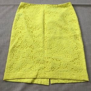 Ann Taylor Bright Yellow Lace Pencil Skirt